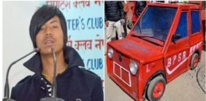 Bhim Sunar of Baglung made mini car using wood and motorcycle parts